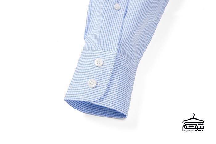 سر آستین پیراهن مردانه مدل گرد و دو دکمه