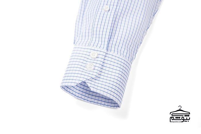سر آستین پیراهن مردانه مدل زاویهدار و دو دکمه
