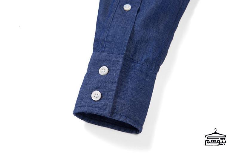 سر آستین پیراهن مردانه مدل مربعی، دو دکمه و بدون حالت