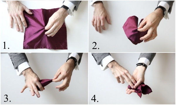 روش تا زدن دستمال جیب (مدل تاج)