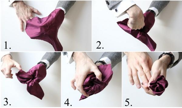 روش تا زدن دستمال جیب (مدل گل)
