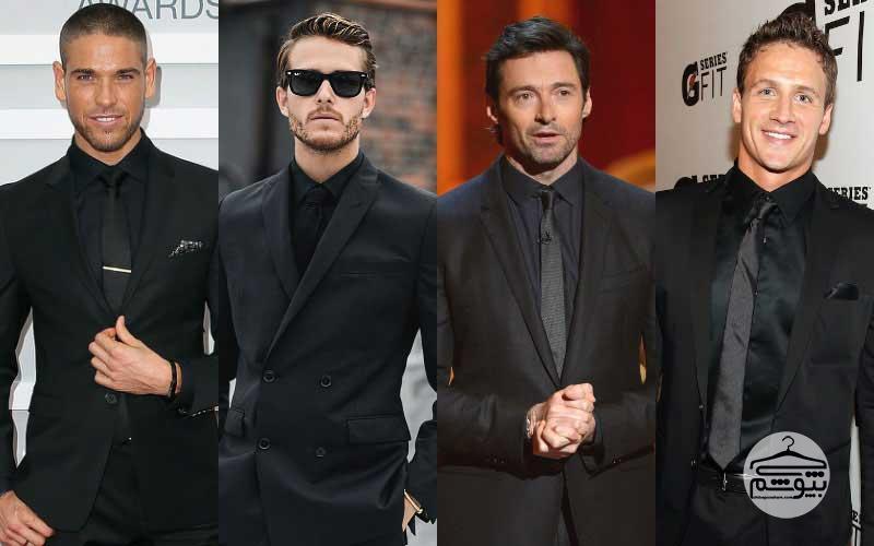 چند مدل کت و شلوار سیاه با پیراهن مردانه مشکی