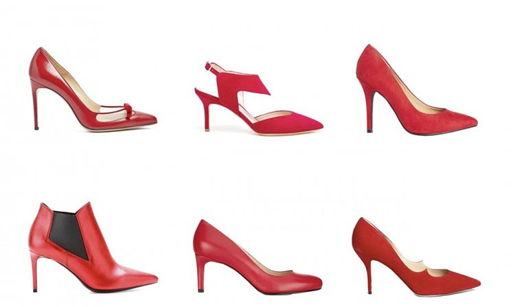 به دنبال یک کفش قرمز شیک، با پاشنه بلند و نازک بگردید