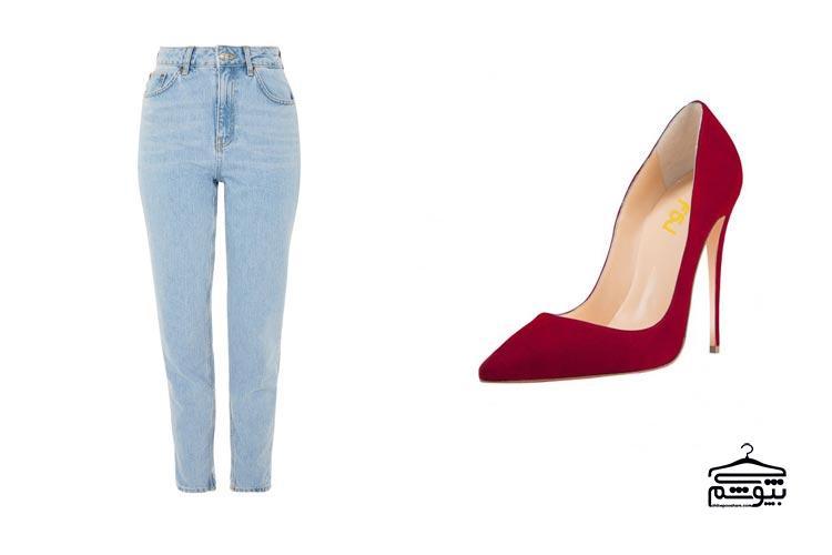 ست کردن کفش قرمز با لباس غیررسمی