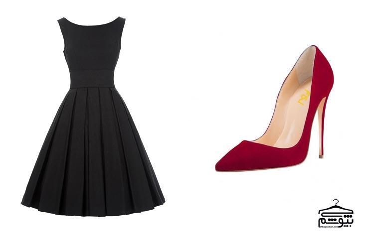 کفش قرمز خود را با یک لباس شیک و خانمانه ست کنید