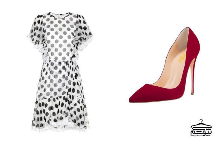 کفش قرمز خود را با یک پیراهن طرحدار و ساده ست کنید