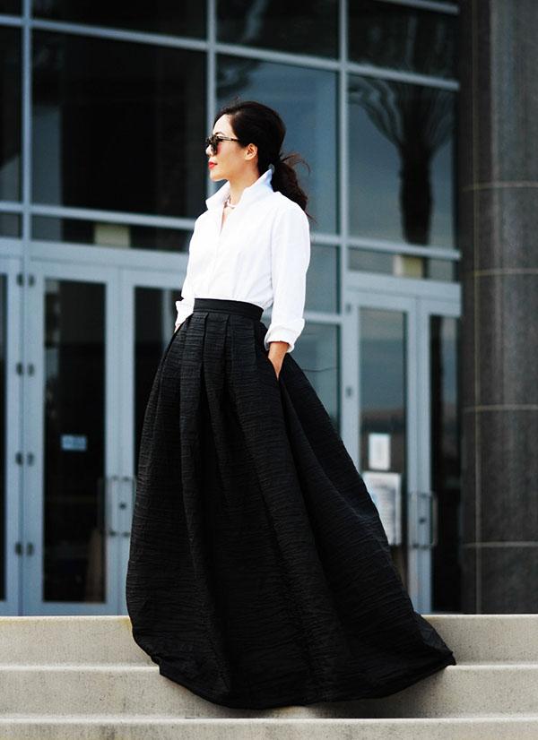 پیراهن بلند یقه حریر دامن بلند را با چی بپوشید؟