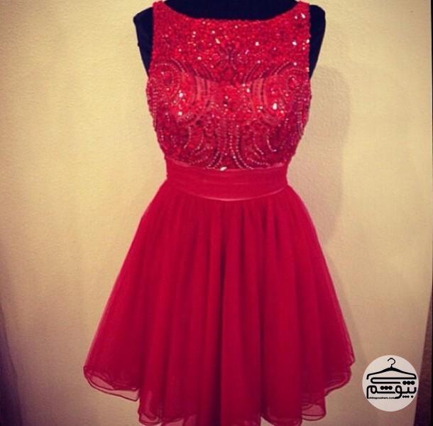 ۵ مدل لباس مجلسی کوتاه قرمز