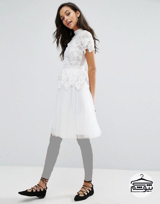 چند مدل لباس مجلسی گیپور کوتاه برای نامزدی