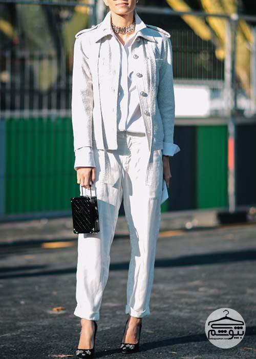 راهنمای پوشیدن شلوار سفید زنانه در زمستان