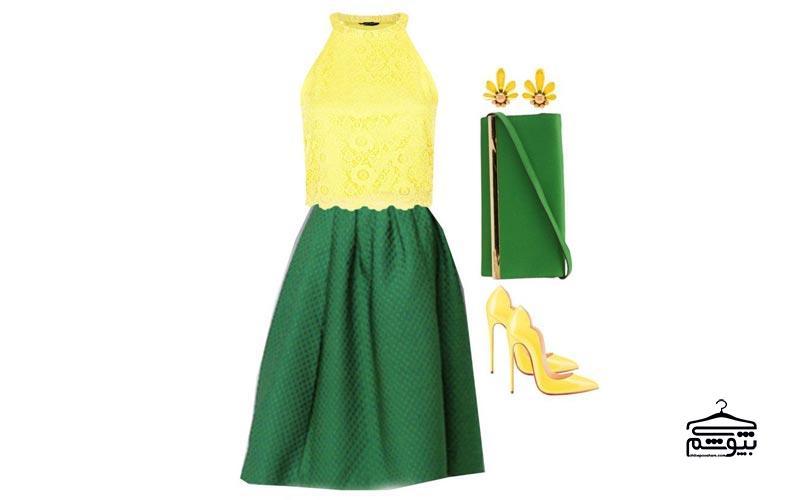 ست لباس زرد با رنگ سبز