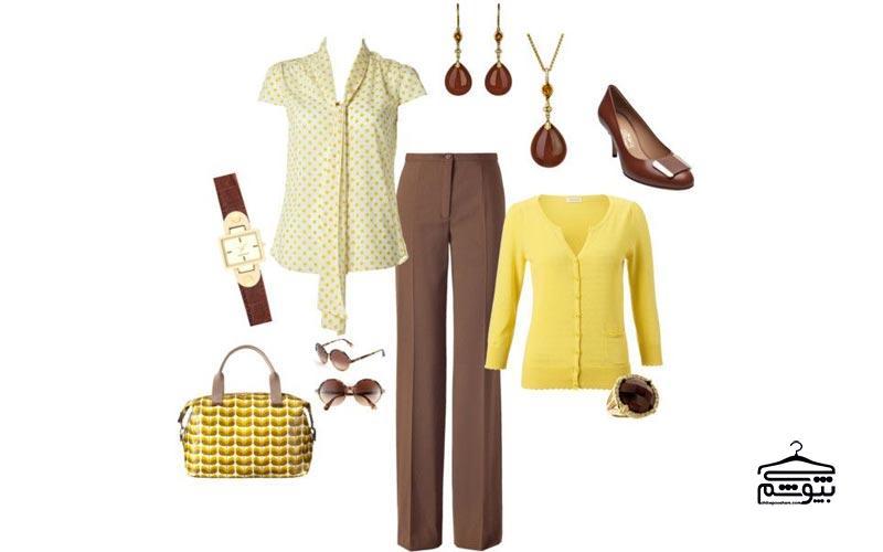 ست لباس زرد با رنگ قهوهای