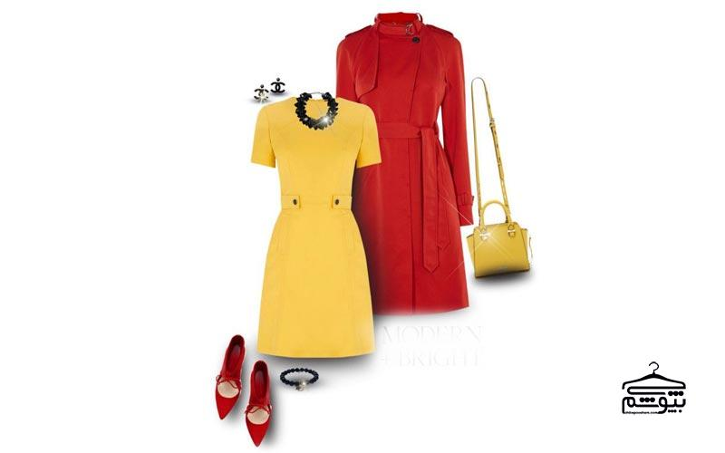 ست لباس زرد با رنگ قرمز