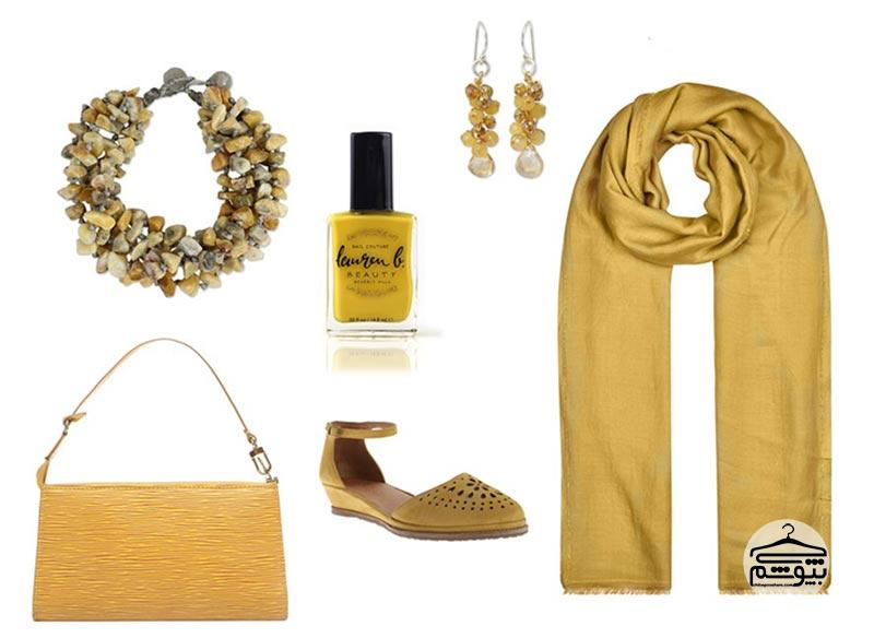 نحوه ست کردن لباسهایی به رنگ زرد عسلی – طلایی