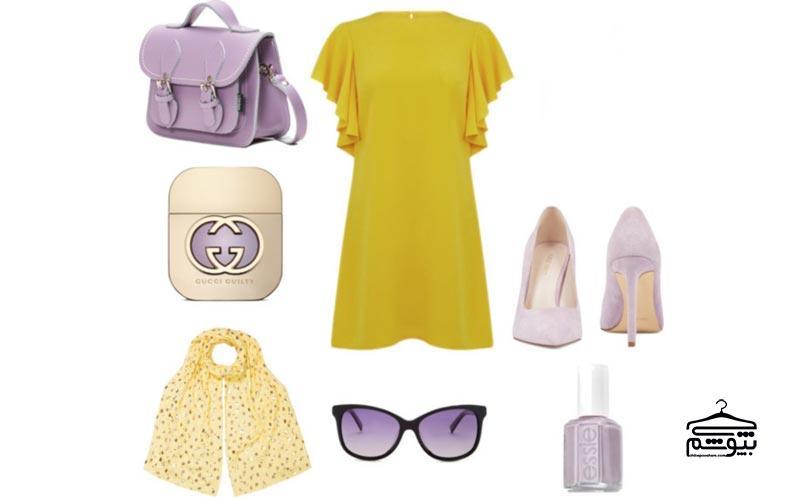 ست لباس زرد با رنگ بنفش یا رنگ یاسی