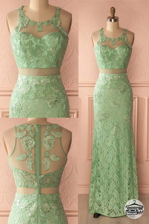 مدل مانتو لمه مدل لباس مجلسی با رنگ سبز سال