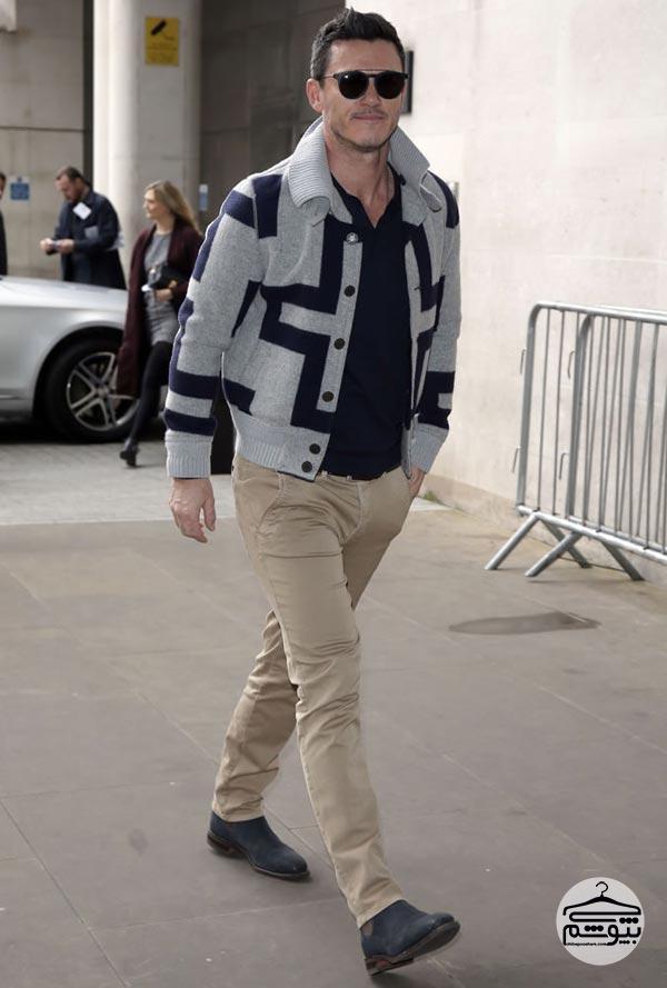 نحوه لباس پوشیدن لوک ایوانز بازیگر مرد مشهور هالیوود
