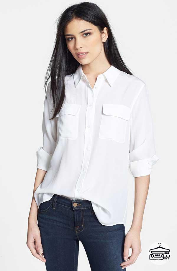 شومیز با یقه مدل پاپیون بهترینهای مد ۲۰۱۷ برای مدل بلوز زنانه