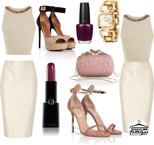 ست کرم رنگ برای لباس زنانه