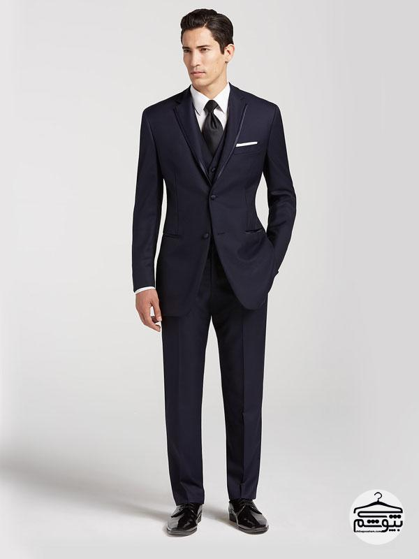 Navy Blue Tux With Black Shoes