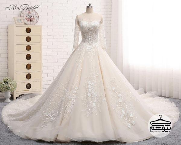 لباس عروس آستین دار اروپایی