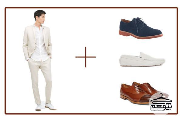 ست کردن رنگ کت و شلوار با کفش ؛ آبی نفتی