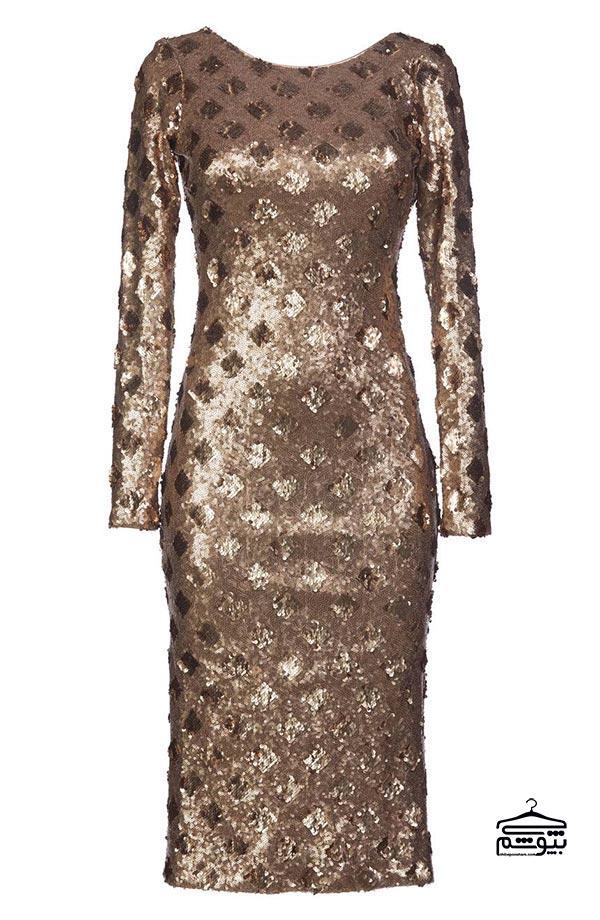 لباس مجلسی طلایی با طرح برجسته