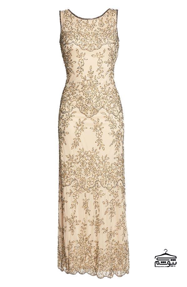 لباس مجلسی مادر عروس طلایی