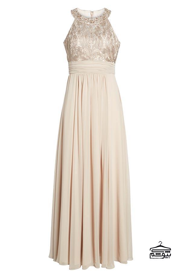 لباس مادر عروس سفید شیری یقه هالتر