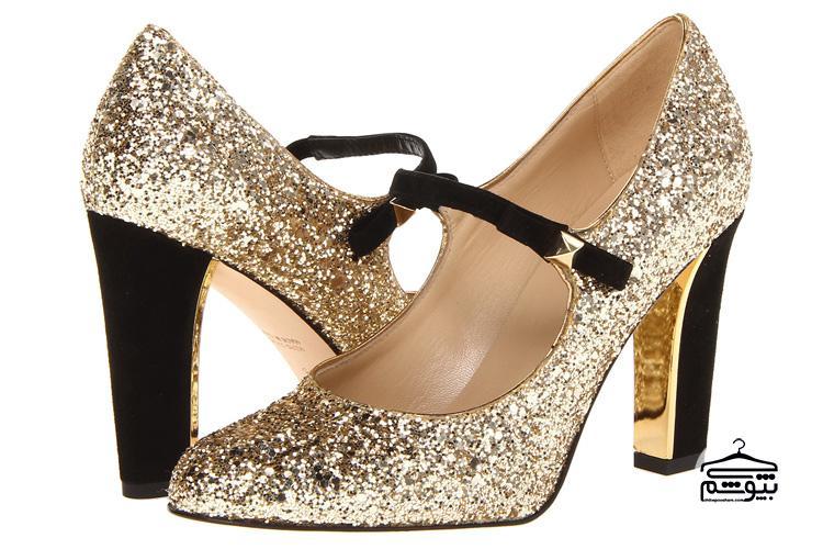 مدل کفش عروس مشکی طلایی