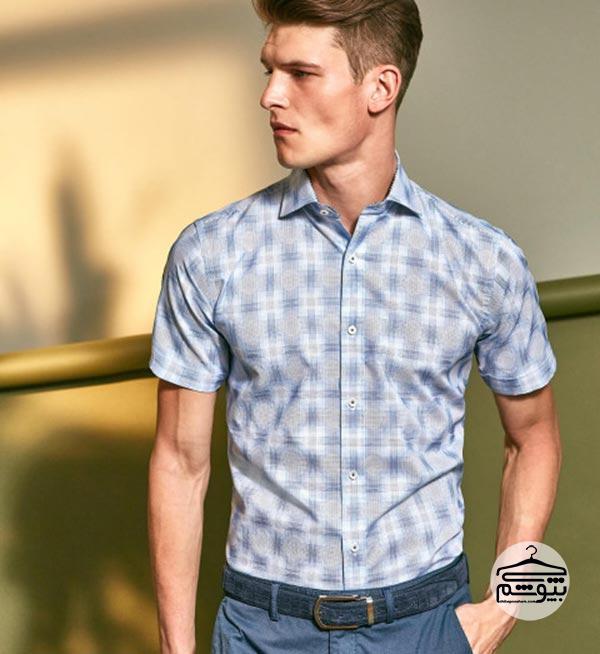 پیراهن مردانه مدل کلاسیک آستین کوتاه