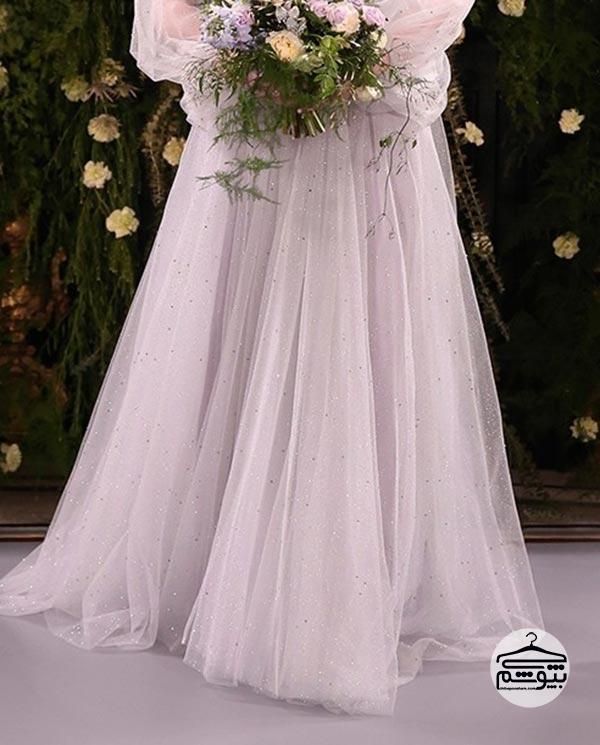 لباس عروس نقره ای بلند