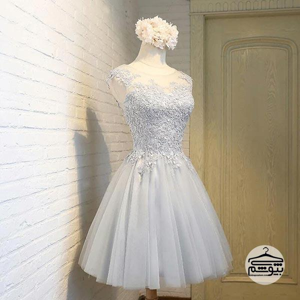 لباس عروس نقره ای کوتاه