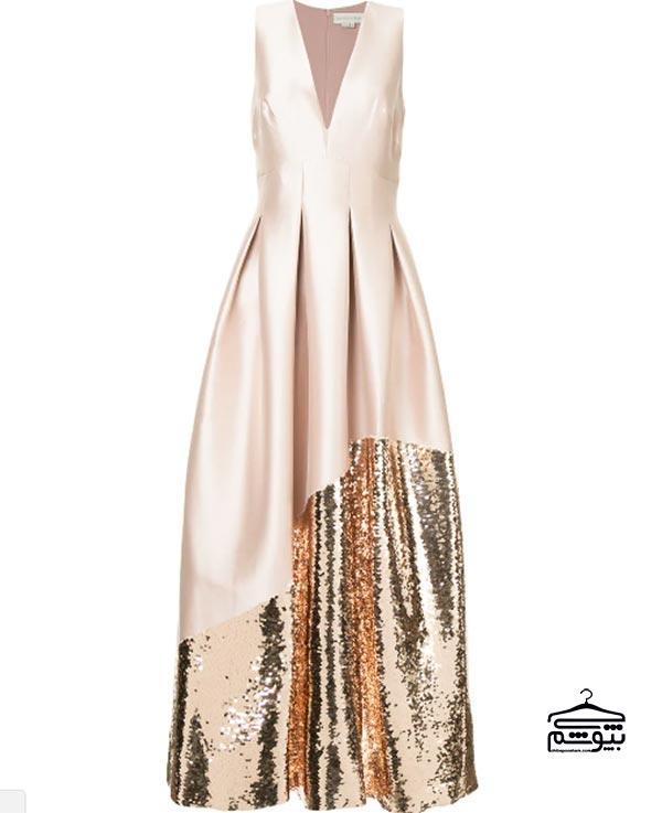 مدل لباس مجلسی 2019 با یقه V شکل