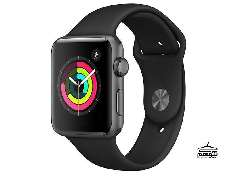 اپل واچ سری ۳  مدل 42mm Space Gray Aluminum Case with Black Sport Band