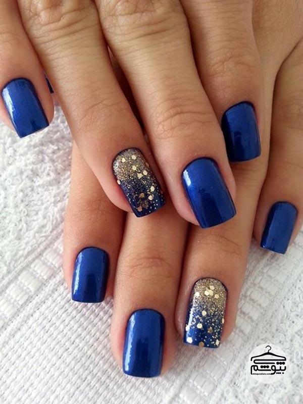طراحی ناخن با رنگ آبی