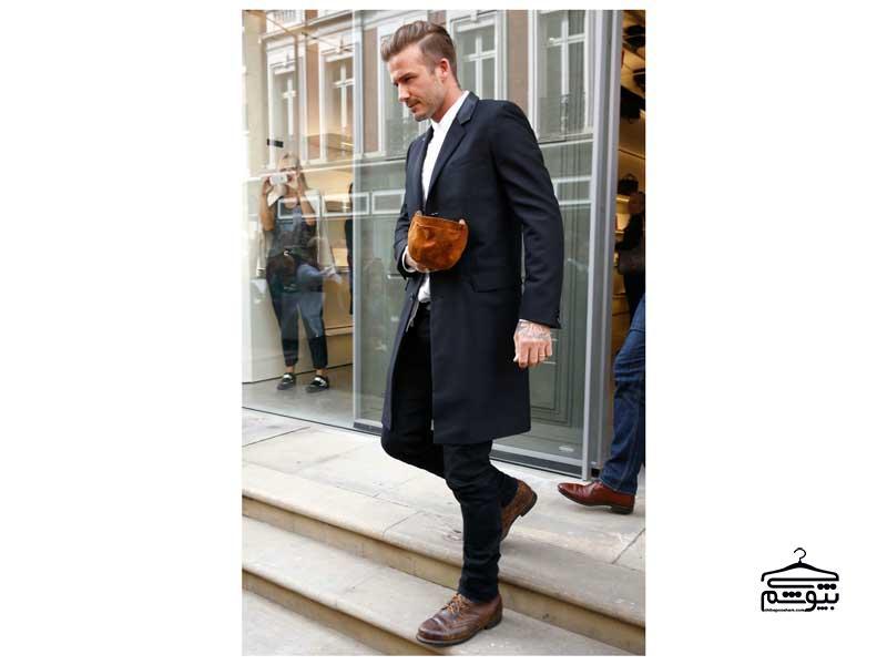 شلوار سیاه کفش قهوه ای