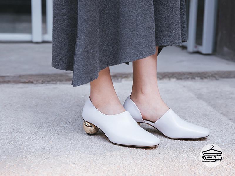 کفش فلت سفید در سبک کژوال