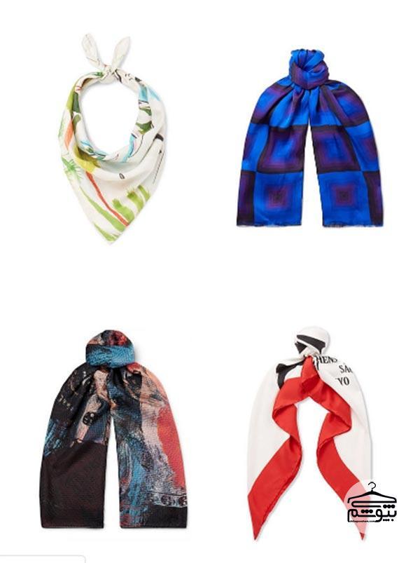 از یک شال گردن طرحدار ابریشمی استفاده کنید