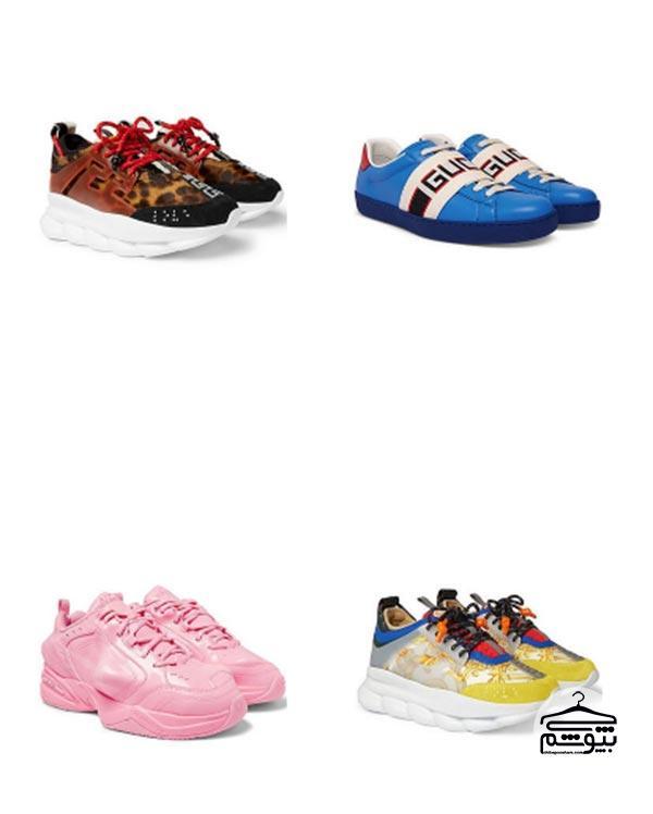پوشیدن کفش کتانی به رنگ روشن و درخشان