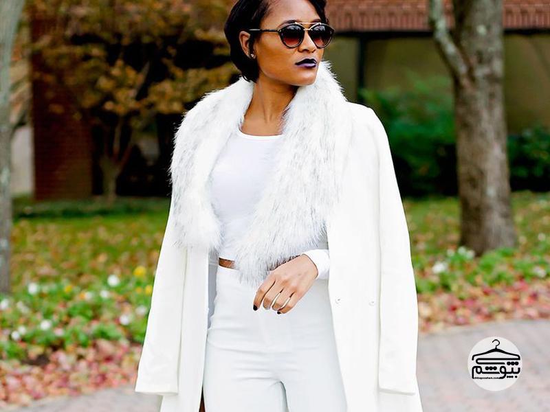 تیپ زمستانی با لباس سفید