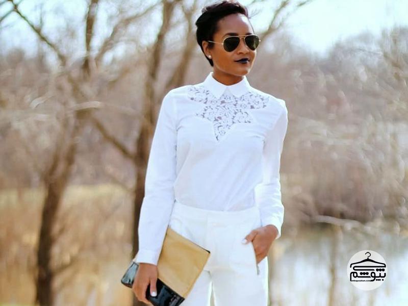 تیپ راحتی با لباس سفید