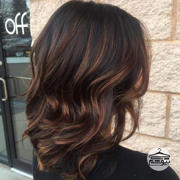 رنگ موی قهوهای موکا همراه با هایلایت