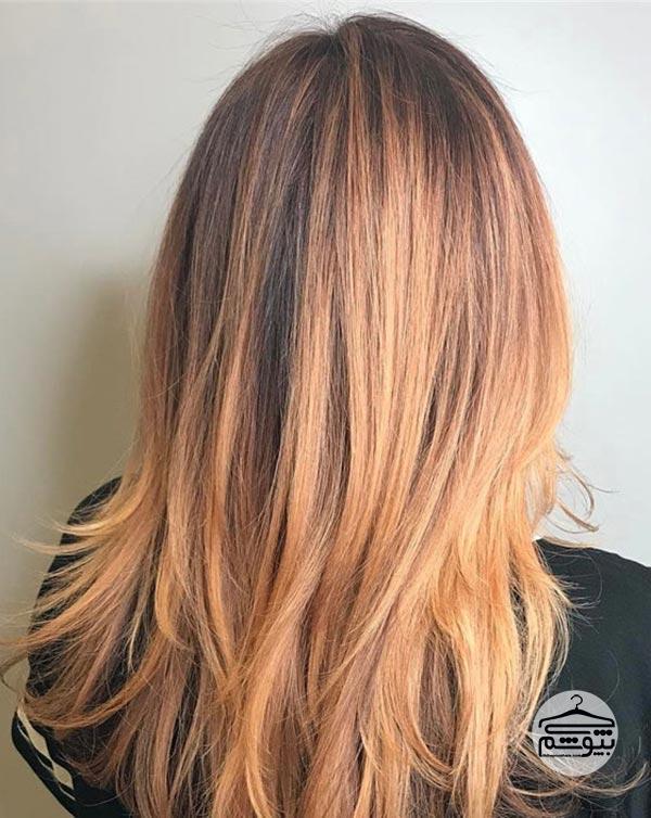 رنگ موی شکلاتی همراه با بالیاژ به رنگ مسی