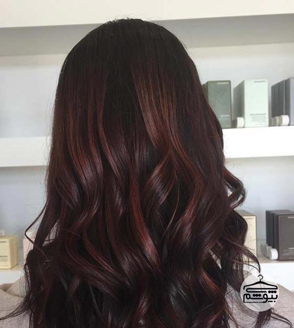 ترکیب رنگ موی شکلاتی با رنگ گیلاسی