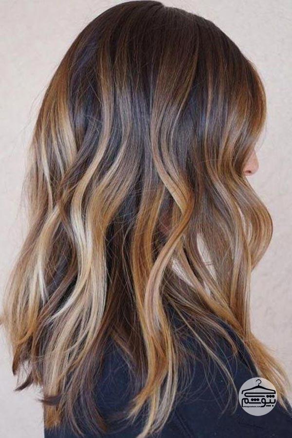 رنگ موی شکلاتی با هایلایت کاراملی تیره