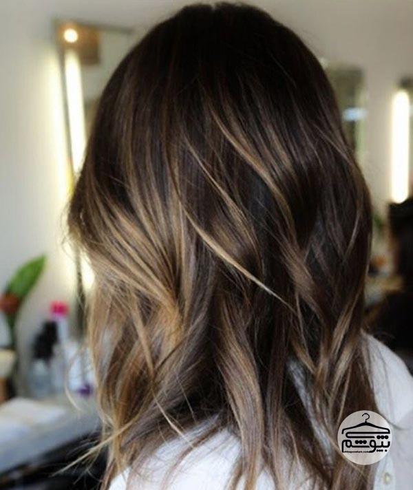 رنگ موی شکلاتی همراه با بالیاژ روشن