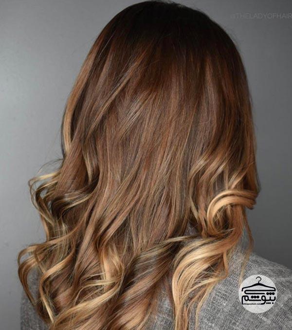 ترکیب رنگ موی عسلی با قهوهای فندقی